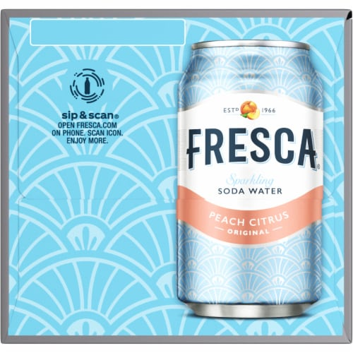Fresca Peach Citrus Sparkling Soda Water Fridge Pack Perspective: right