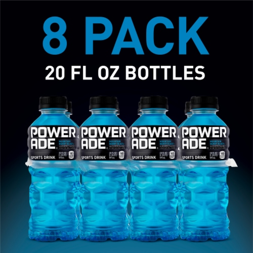 Powerade Mountain Berry Blast Electrolyte Enhanced Sports Drink 8 Bottles Perspective: right