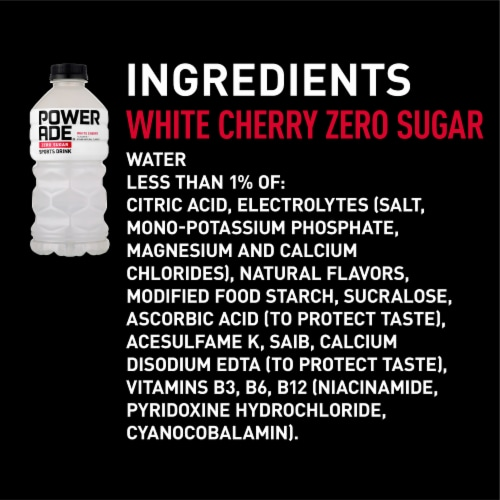 Powerade Zero White Cherry Sports Drink Perspective: right