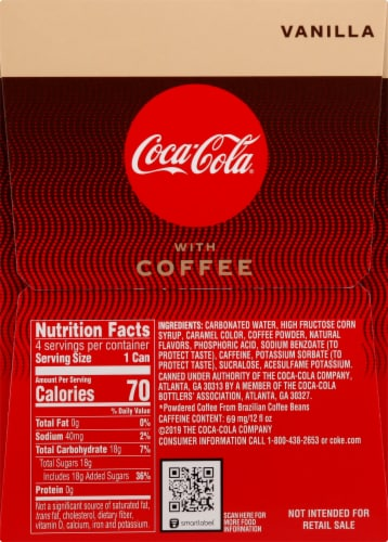 Coca-Cola with Coffee Vanilla Cans, 12 fl oz, 4 Pack Perspective: right