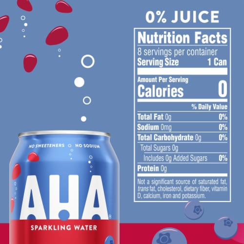 AHA Blueberry & Pomegranate Sparkling Water Perspective: right