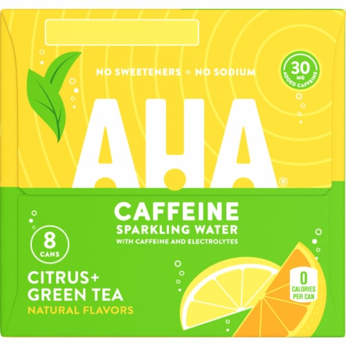 AHA Citrus + Green Tea Caffeine Sparkling Water Perspective: right