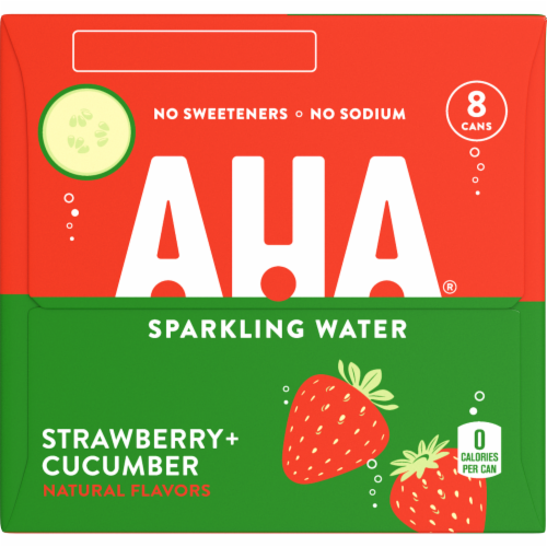 AHA Strawberry + Cucumber Sparkling Water Perspective: right