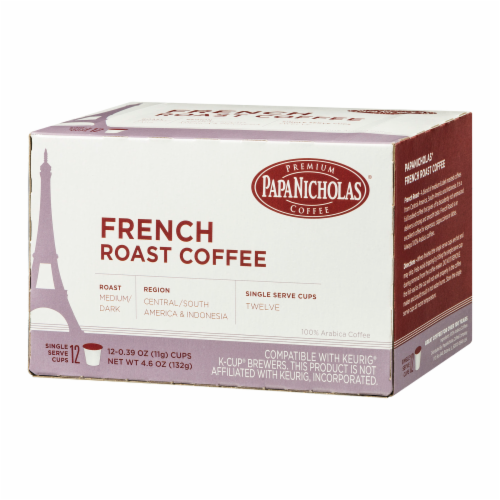 Papa Nicholas French Roast Coffee Single Serve Cups Perspective: right
