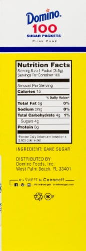 Domino Premium Pure Cane Sugar Packets 100 Count Perspective: right