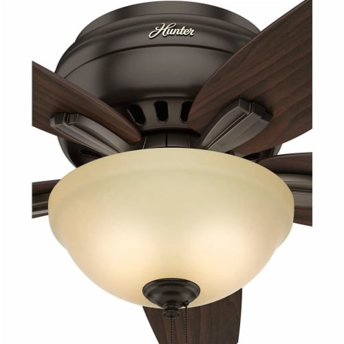 """Hunter Low Profile Newsome 42"""" Ceiling Fan with LED Light and Pull Chain, Bronze Perspective: right"""
