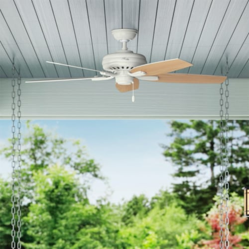 """Hunter Newsome 52"""" Indoor/Outdoor Home Ceiling Fan with Pull Chain, Fresh White Perspective: right"""