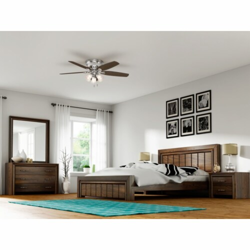"""Hunter Builder 52"""" Low Profile Ceiling Fan with 3 LED Lights, Brushed Nickel Perspective: right"""