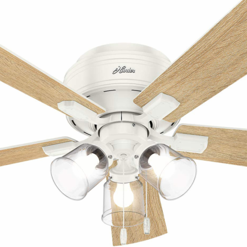 """Hunter Crestfield 52"""" Low Profile Ceiling Fan w/ LED Light and Pull Chain, White Perspective: right"""