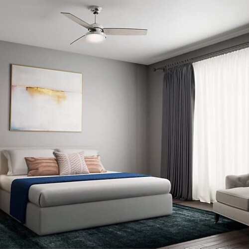 """Hunter Sentinel 52"""" Modern Ceiling Fan with LED Light and Remote, Brushed Silver Perspective: right"""
