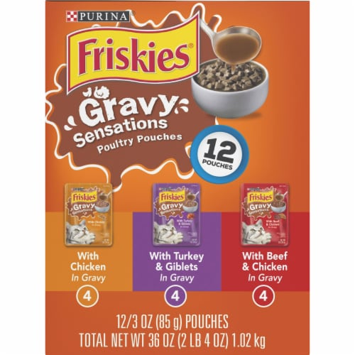 Friskies Gravy Sensations Poultry Pouches Wet Cat Food Variety Pack Perspective: right