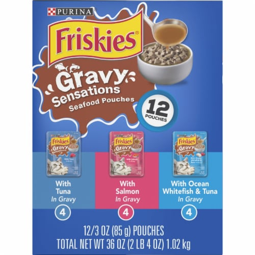 Friskies Gravy Sensations Seafood Favorites Pouches Wet Cat Food Variety Pack Perspective: right