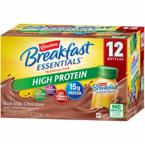 Carnation Breakfast Essentials Chocolate High Protein Complete Nutritional Drink Perspective: right