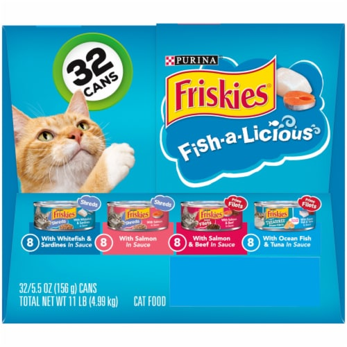 Friskies Fish-A-Licious Shreds Prime Filets & Shreds Wet Cat Food Variety Pack Perspective: right