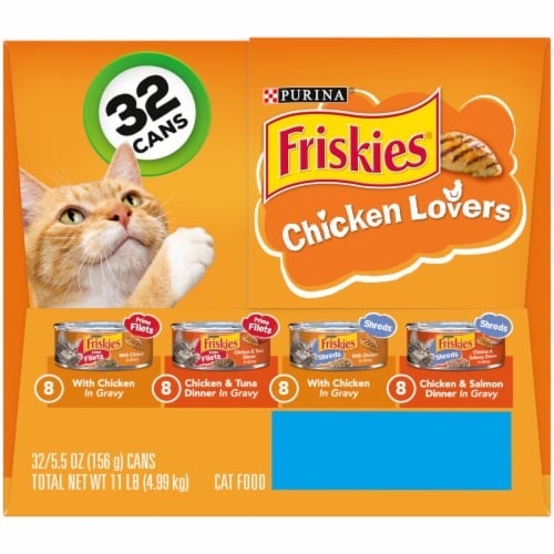 Friskies Chicken Lovers Prime Filets & Shreds Gravy Wet Cat Food Variety Pack 32 Count Perspective: right