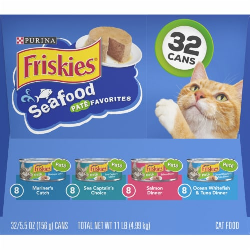 Friskies Pate Seafood Favorites Wet Cat Food Variety Pack Perspective: right