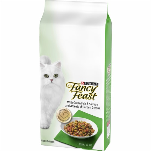 Fancy Feast Ocean Fish & Salmon and Accents of Garden Greens Dry Cat Food Perspective: right