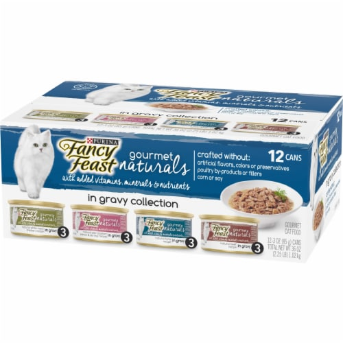 Fancy Feast Gourmet Naturals in Gravy Collection Wet Cat Food Variety Pack Perspective: right