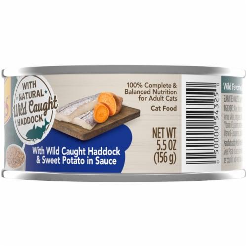 Friskies Wild Favorites Mini Bites With Wild Caught Haddock & Sweet Potato in Sauce Wet Cat Food Perspective: right