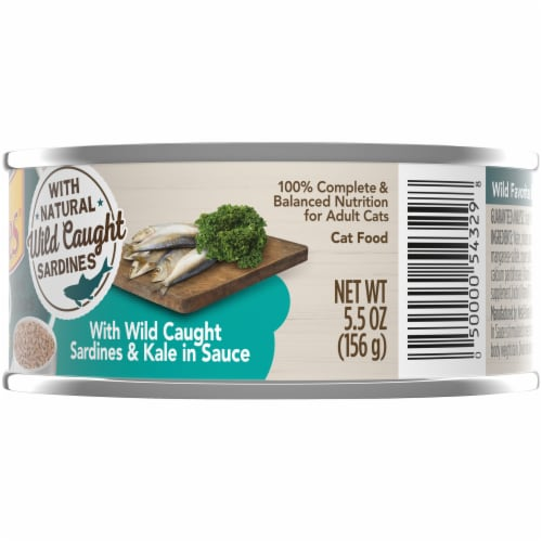 Friskies Wild Favorites Mini Bites With Wild Caught Sardines & Kale in Sauce Wet Cat Food Perspective: right