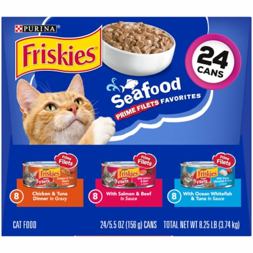 Friskies Seafood Prime Filets Favorites Wet Cat Food Variety Pack 24 Count Perspective: right