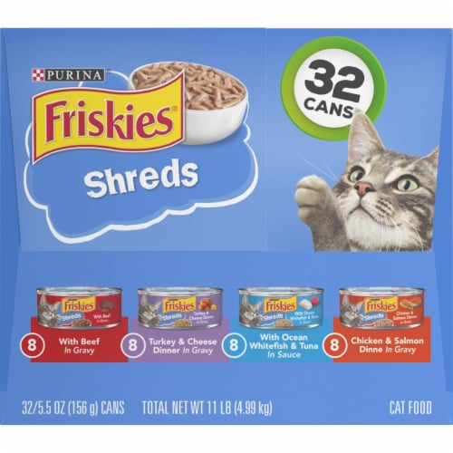 Friskies Savory Shreds Gravy Wet Cat Food Variety Pack 32 Count Perspective: right