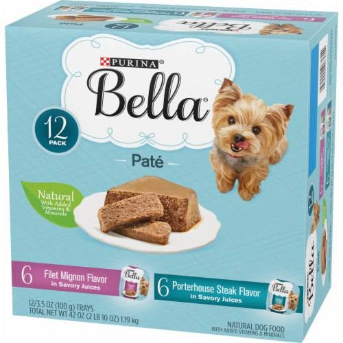 Bella Filet Mignon & Porterhouse Steak Pate in Juices Small Breed Wet Adult Dog Food Variety Pack Perspective: right