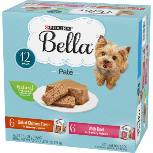 Bella Grilled Chicken & Beef in Juices Pate Small Breed Wet Dog Food Variety Pack Perspective: right