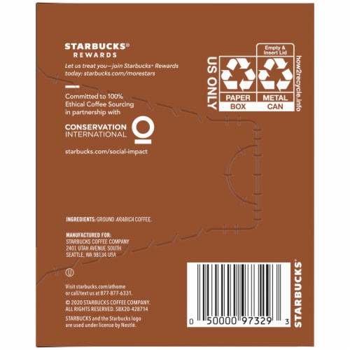 Starbucks Fresh Brew Breakfast Blend Ground Coffee Cans 8 Count Perspective: right