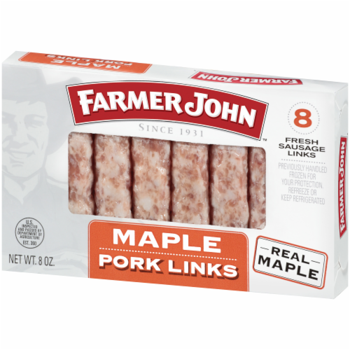 Farmer John Maple Pork Sausage Links 8 Count Perspective: right