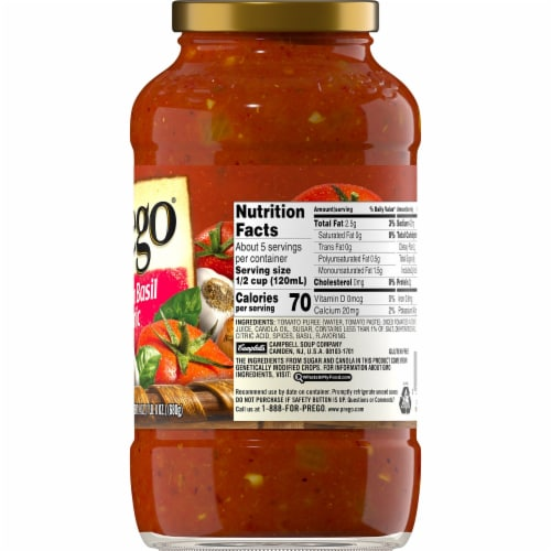 Prego Tomato Basil Garlic Italian Pasta Sauce Perspective: right