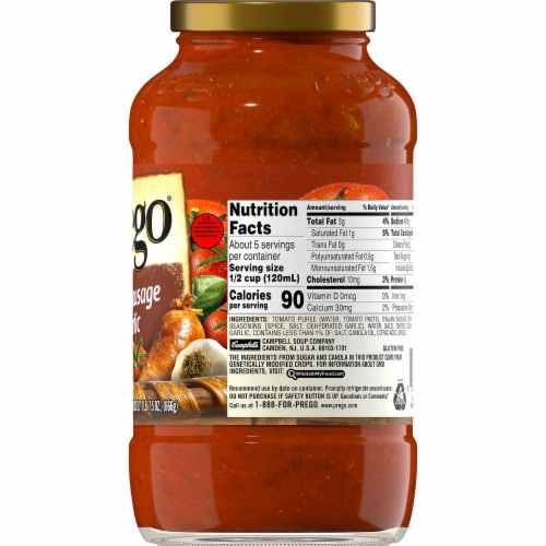 Prego Italian Sausage & Garlic Meat Sauce Perspective: right