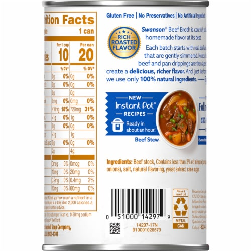 Swanson 50% Less Sodium Natural Beef Broth Perspective: right