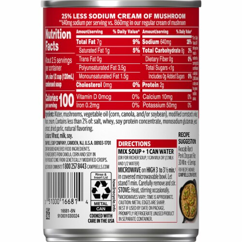 Campbell's Reduced Sodium Cream of Mushroom Condensed Soup Perspective: right