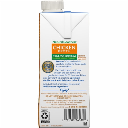 Swanson Natural Goodness Less Sodium Chicken Broth Perspective: right