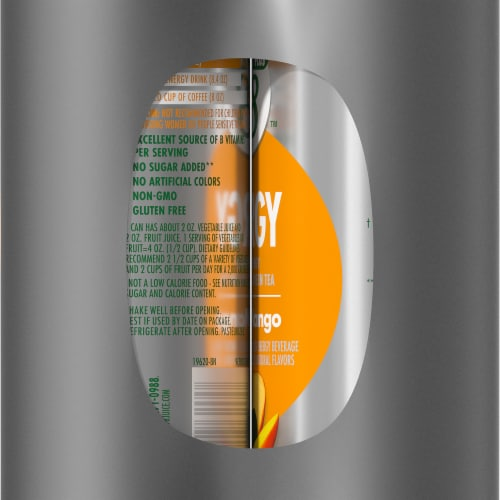 V8 +Energy Peach Mango Juice Blend Perspective: right