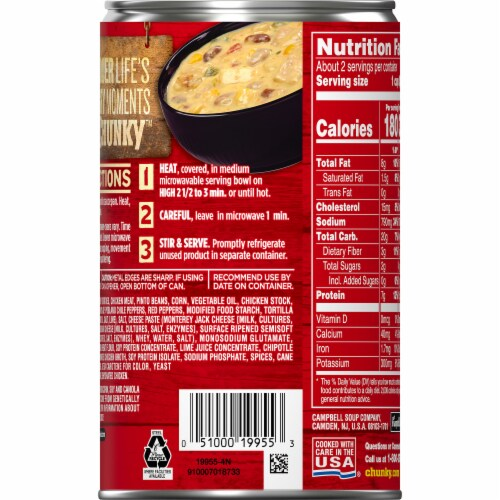 Campbell's Chunky Chipotle Chicken & Corn Chowder Soup Perspective: right