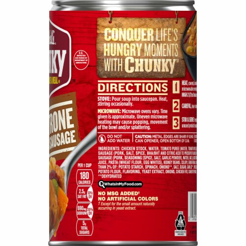 Campbell's® Chunky Minestrone with Italian Sausage Soup Perspective: right