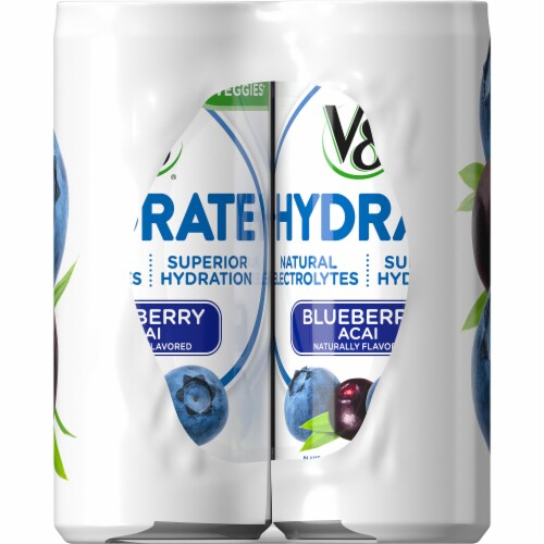 V8 +Hydrate Blueberry Acai Plant Based Hydrating Beverage 6 Cans Perspective: right