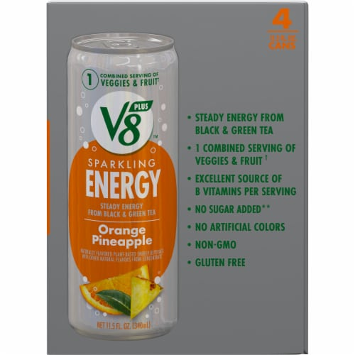 V8 Orange Pineapple Sparkling Juice Drink Perspective: right