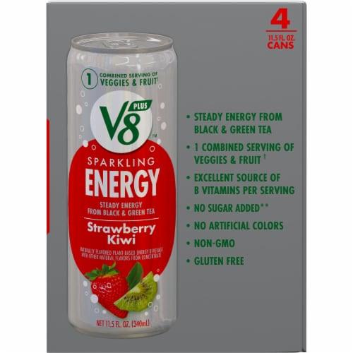 V8 Strawberry Kiwi +EnergyPlant-Based Energy Beverage Perspective: right