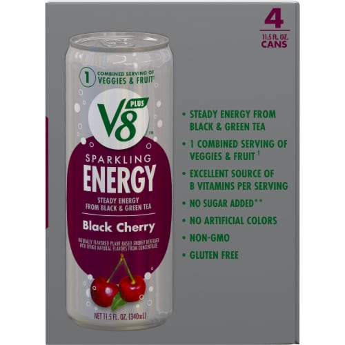 V8 +Energy Black Cherry Sparkling Energy Drink Perspective: right