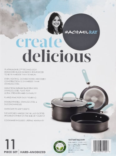 Rachael Ray Create Delicious Nonstick Cookware Set - Gray/Light Blue Perspective: right