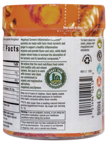 MegaFood Turmeric Inflammation Response Gummies Perspective: right