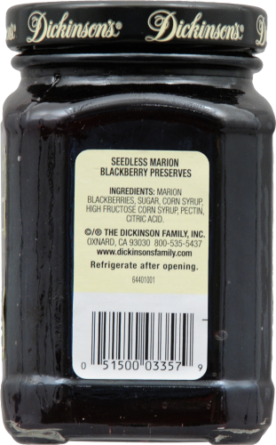 Dickinson's Pure Seedless Marion Blackberry Preserves Perspective: right