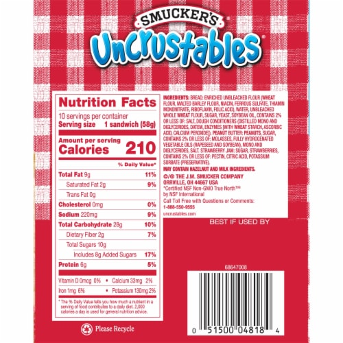 Smucker's Uncrustables Peanut Butter and Strawberry Jam Sandwiches Perspective: right