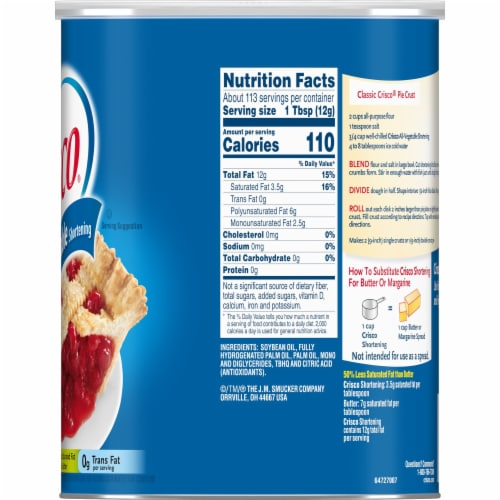 Crisco® All-Vegetable Shortening Perspective: right
