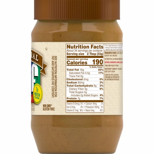 Jif Natural Creamy Peanut Butter Spread Perspective: right