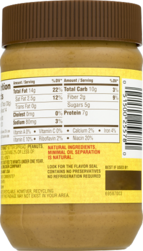 Jif Natural Creamy Honey Peanut Butter Perspective: right