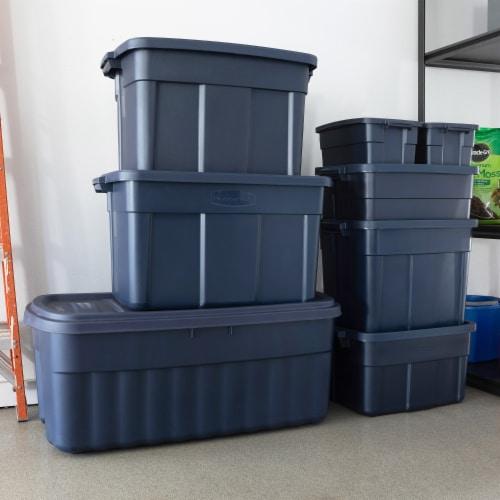 Rubbermaid 10 Gallon Stackable Storage Container, Dark Indigo Metallic (8 Pack) Perspective: right